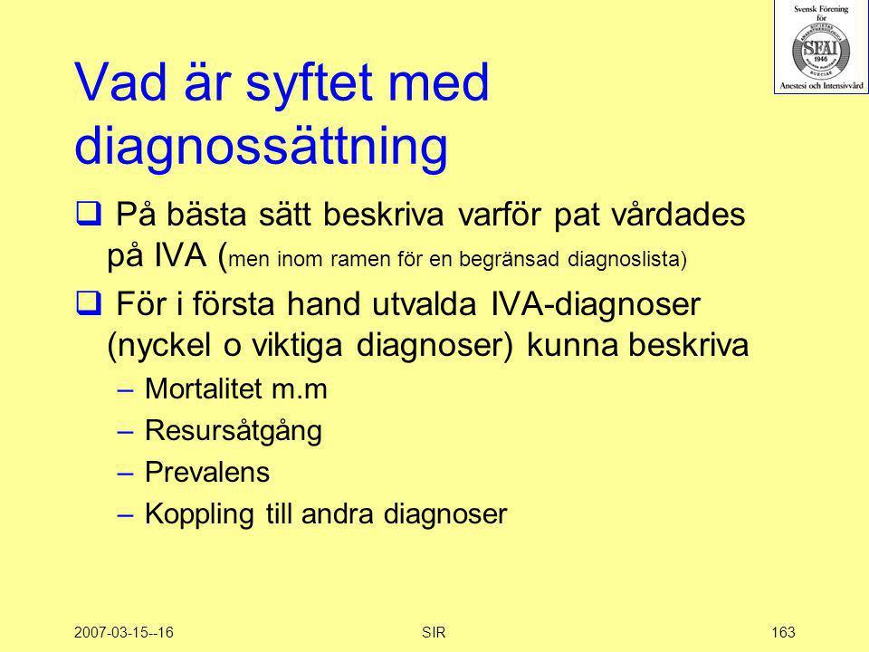 2007-03-15--16SIR163 Vad är syftet med diagnossättning  På bästa sätt beskriva varför pat vårdades på IVA ( men inom ramen för en begränsad diagnosli