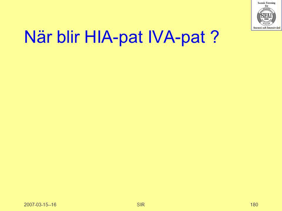 2007-03-15--16SIR180 När blir HIA-pat IVA-pat ?