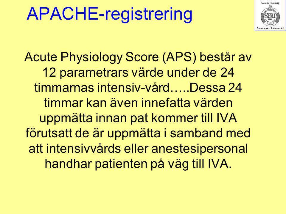 APACHE-registrering Acute Physiology Score (APS) består av 12 parametrars värde under de 24 timmarnas intensiv-vård…..Dessa 24 timmar kan även innefat