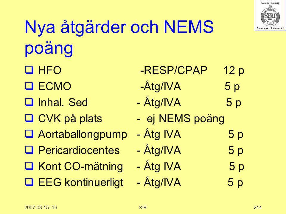 2007-03-15--16SIR214 Nya åtgärder och NEMS poäng  HFO  ECMO  Inhal. Sed  CVK på plats  Aortaballongpump  Pericardiocentes  Kont CO-mätning  EE