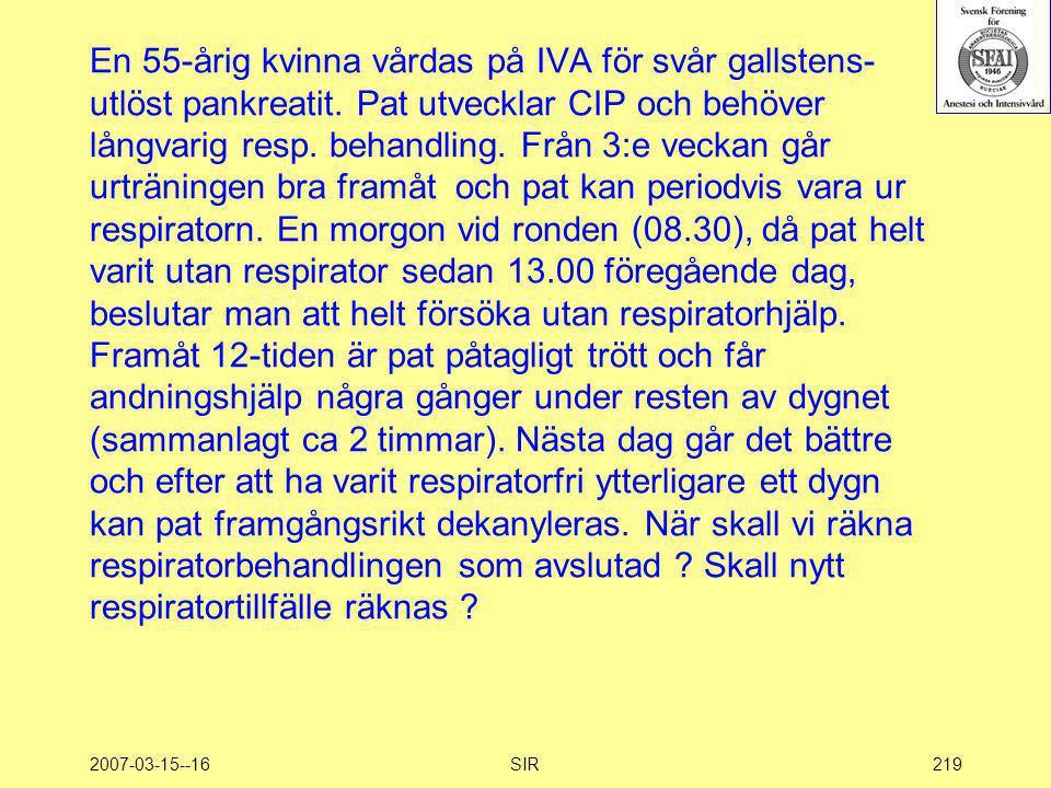 2007-03-15--16SIR219 En 55-årig kvinna vårdas på IVA för svår gallstens- utlöst pankreatit. Pat utvecklar CIP och behöver långvarig resp. behandling.