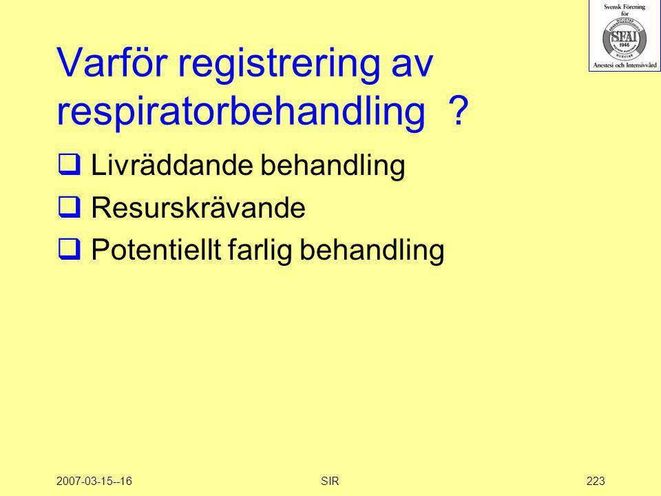 2007-03-15--16SIR223 Varför registrering av respiratorbehandling ?  Livräddande behandling  Resurskrävande  Potentiellt farlig behandling