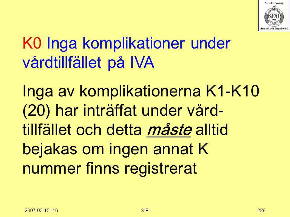 2007-03-15--16SIR228 K0 Inga komplikationer under vårdtillfället på IVA Inga av komplikationerna K1-K10 (20) har inträffat under vård- tillfället och