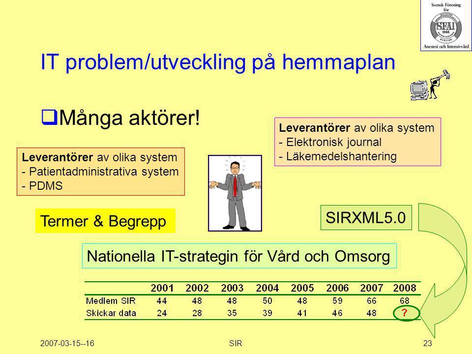 2007-03-15--16SIR23 IT problem/utveckling på hemmaplan  Många aktörer! Leverantörer av olika system - Patientadministrativa system - PDMS Nationella