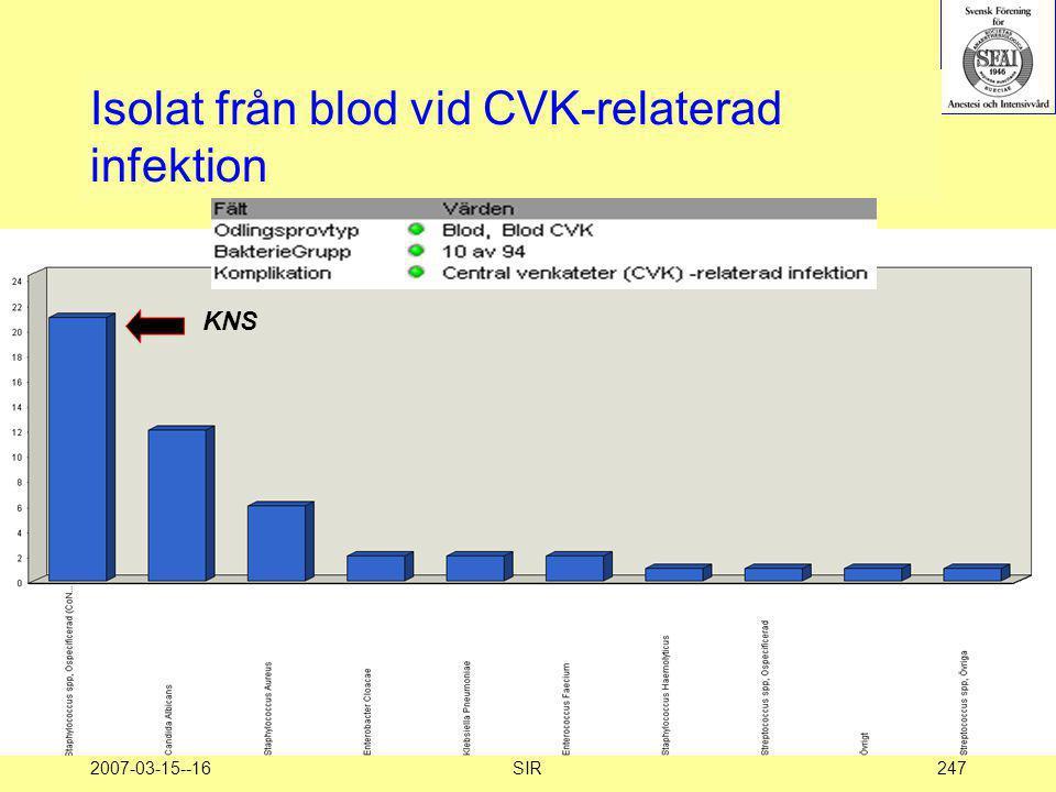 2007-03-15--16SIR247 Isolat från blod vid CVK-relaterad infektion KNS