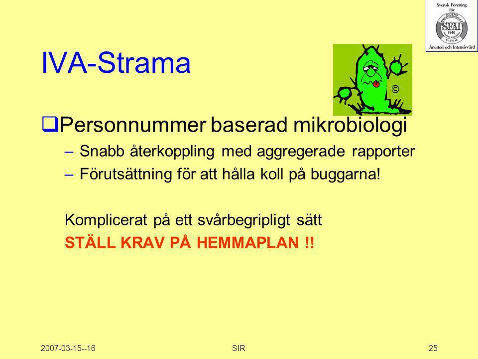 2007-03-15--16SIR25 IVA-Strama  Personnummer baserad mikrobiologi –Snabb återkoppling med aggregerade rapporter –Förutsättning för att hålla koll på
