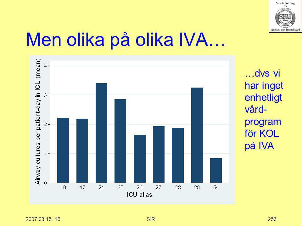 2007-03-15--16SIR256 Men olika på olika IVA… …dvs vi har inget enhetligt vård- program för KOL på IVA