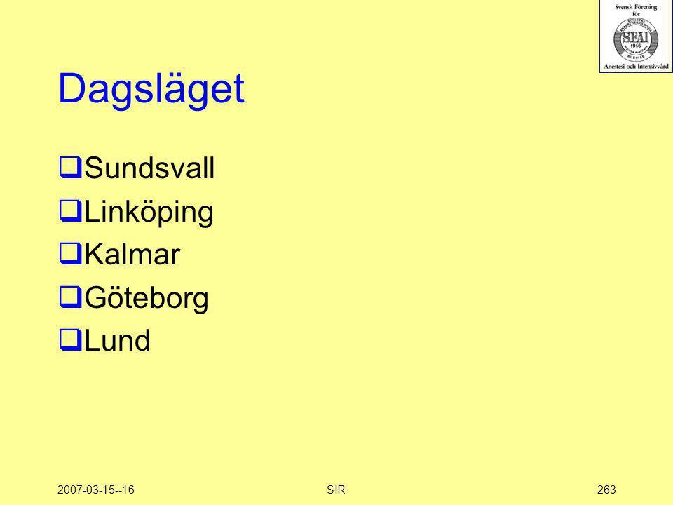 2007-03-15--16SIR263 Dagsläget  Sundsvall  Linköping  Kalmar  Göteborg  Lund