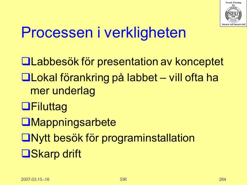 2007-03-15--16SIR264 Processen i verkligheten  Labbesök för presentation av konceptet  Lokal förankring på labbet – vill ofta ha mer underlag  Filu