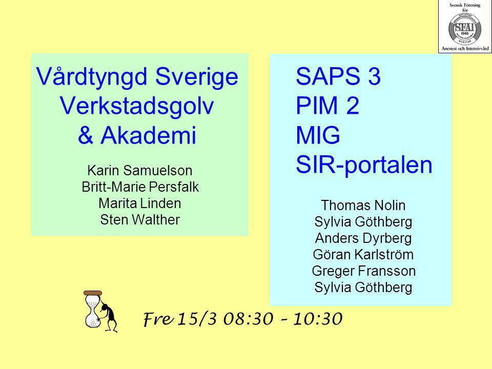 Vårdtyngd Sverige Verkstadsgolv & Akademi Karin Samuelson Britt-Marie Persfalk Marita Linden Sten Walther SAPS 3 PIM 2 MIG SIR-portalen Thomas Nolin S