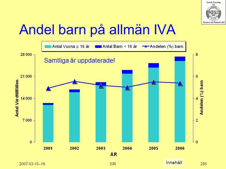 2007-03-15--16SIR285 Andel barn på allmän IVA Samtliga år uppdaterade! Innehåll