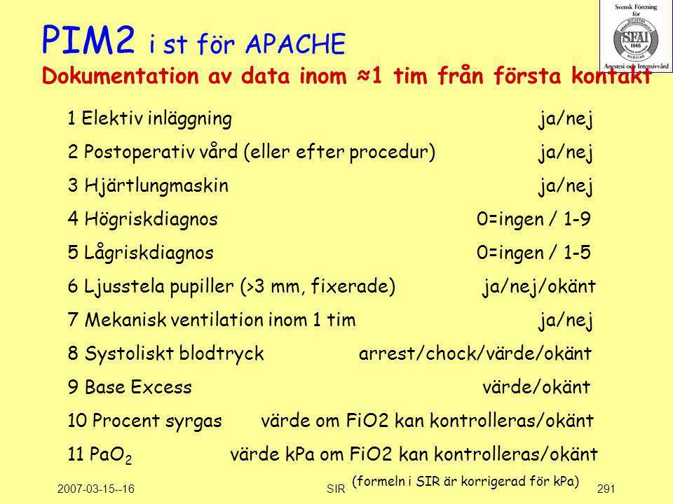2007-03-15--16SIR291 PIM2 i st för APACHE Dokumentation av data inom ≈1 tim från första kontakt 1 Elektiv inläggning ja/nej 2 Postoperativ vård (eller