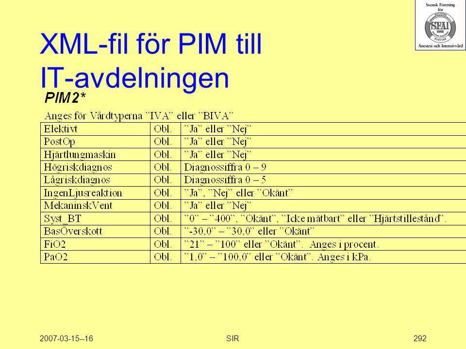 2007-03-15--16SIR292 XML-fil för PIM till IT-avdelningen