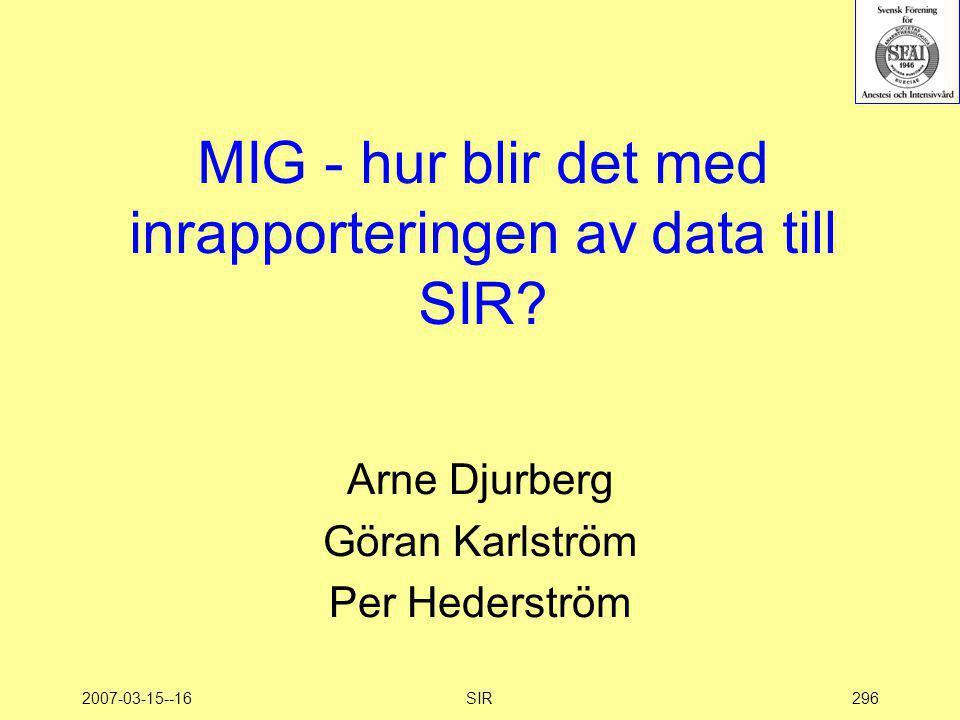 2007-03-15--16SIR296 MIG - hur blir det med inrapporteringen av data till SIR? Arne Djurberg Göran Karlström Per Hederström