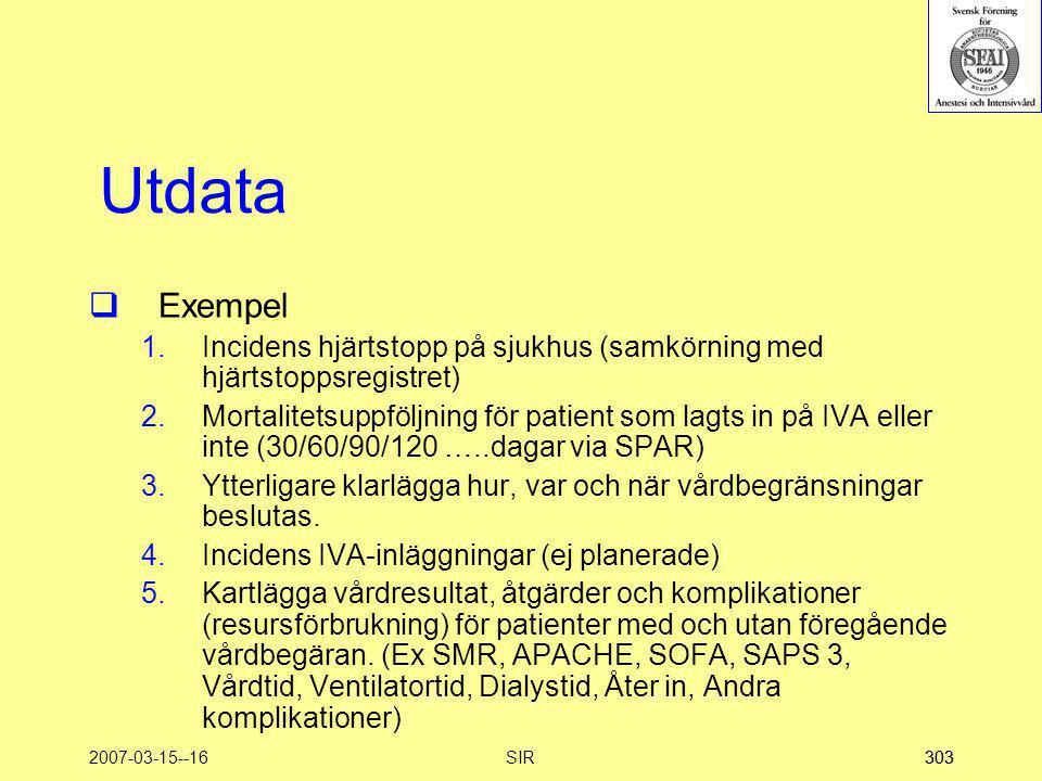 2007-03-15--16SIR303 Utdata  Exempel 1.Incidens hjärtstopp på sjukhus (samkörning med hjärtstoppsregistret) 2.Mortalitetsuppföljning för patient som