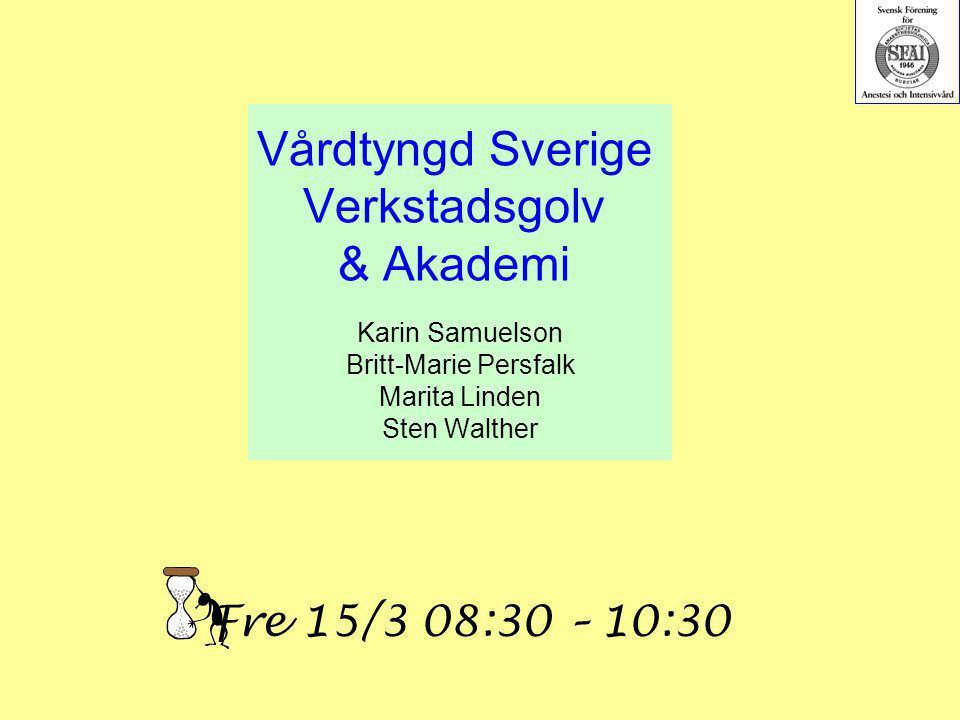 Vårdtyngd Sverige Verkstadsgolv & Akademi Karin Samuelson Britt-Marie Persfalk Marita Linden Sten Walther Fre 15/3 08:30 – 10:30