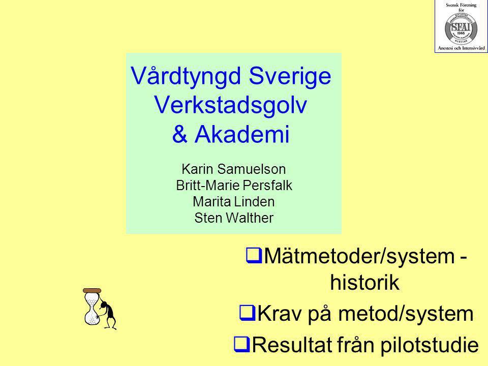 Vårdtyngd Sverige Verkstadsgolv & Akademi Karin Samuelson Britt-Marie Persfalk Marita Linden Sten Walther  Mätmetoder/system - historik  Krav på met