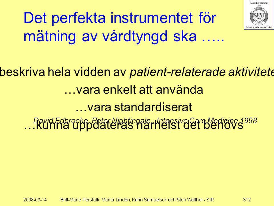 2008-03-14Britt-Marie Persfalk, Marita Lindén, Karin Samuelson och Sten Walther - SIR312 …beskriva hela vidden av patient-relaterade aktiviteter …vara