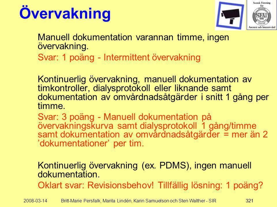 2008-03-14Britt-Marie Persfalk, Marita Lindén, Karin Samuelson och Sten Walther - SIR321 Övervakning Manuell dokumentation varannan timme, ingen överv