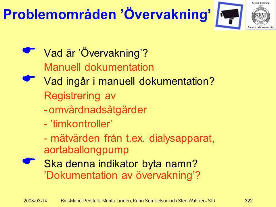 2008-03-14Britt-Marie Persfalk, Marita Lindén, Karin Samuelson och Sten Walther - SIR322 Problemområden 'Övervakning'  Vad är 'Övervakning'? Manuell