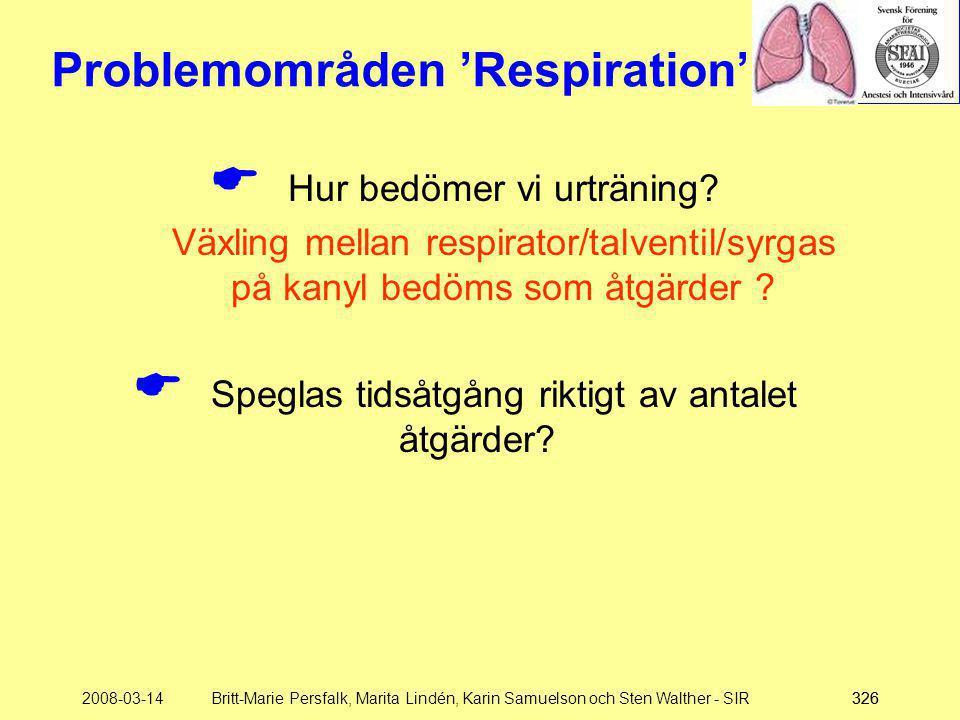 2008-03-14Britt-Marie Persfalk, Marita Lindén, Karin Samuelson och Sten Walther - SIR326 Problemområden 'Respiration'  Hur bedömer vi urträning? Växl