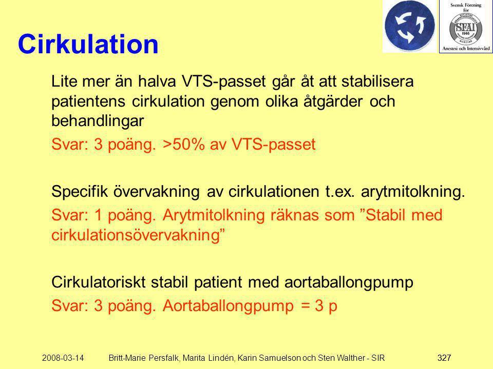 2008-03-14Britt-Marie Persfalk, Marita Lindén, Karin Samuelson och Sten Walther - SIR327 Cirkulation Lite mer än halva VTS-passet går åt att stabilise