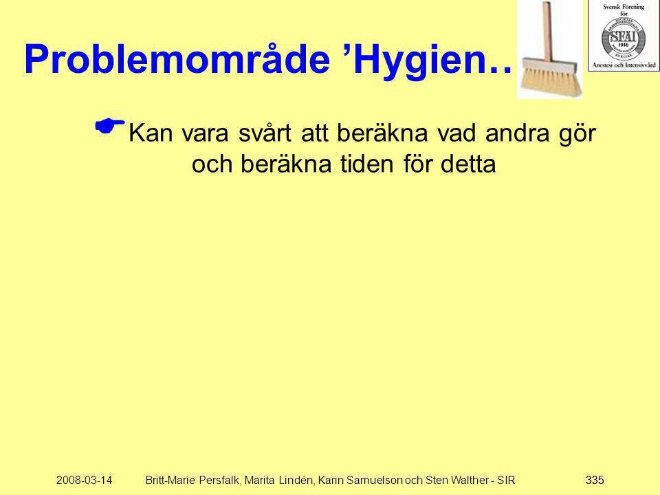 2008-03-14Britt-Marie Persfalk, Marita Lindén, Karin Samuelson och Sten Walther - SIR335 Problemområde 'Hygien…'  Kan vara svårt att beräkna vad andr
