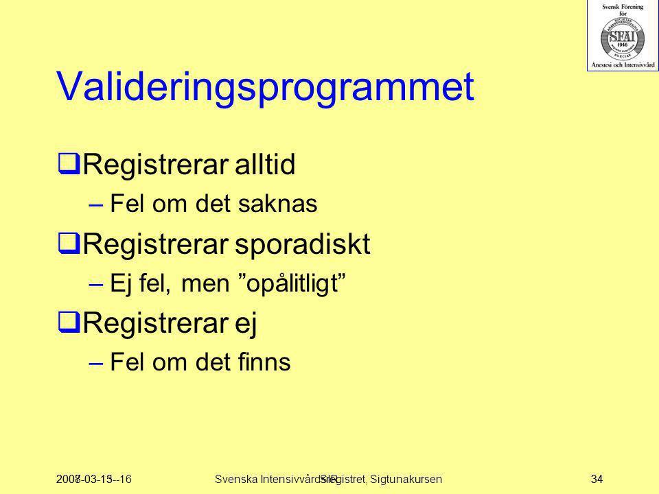 """2007-03-15--16SIR34 Valideringsprogrammet  Registrerar alltid –Fel om det saknas  Registrerar sporadiskt –Ej fel, men """"opålitligt""""  Registrerar ej"""