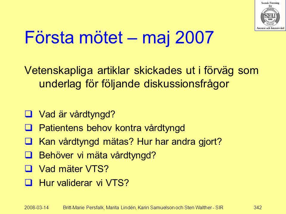2008-03-14Britt-Marie Persfalk, Marita Lindén, Karin Samuelson och Sten Walther - SIR342 Första mötet – maj 2007 Vetenskapliga artiklar skickades ut i