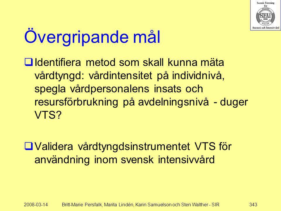 2008-03-14Britt-Marie Persfalk, Marita Lindén, Karin Samuelson och Sten Walther - SIR343 Övergripande mål  Identifiera metod som skall kunna mäta vår