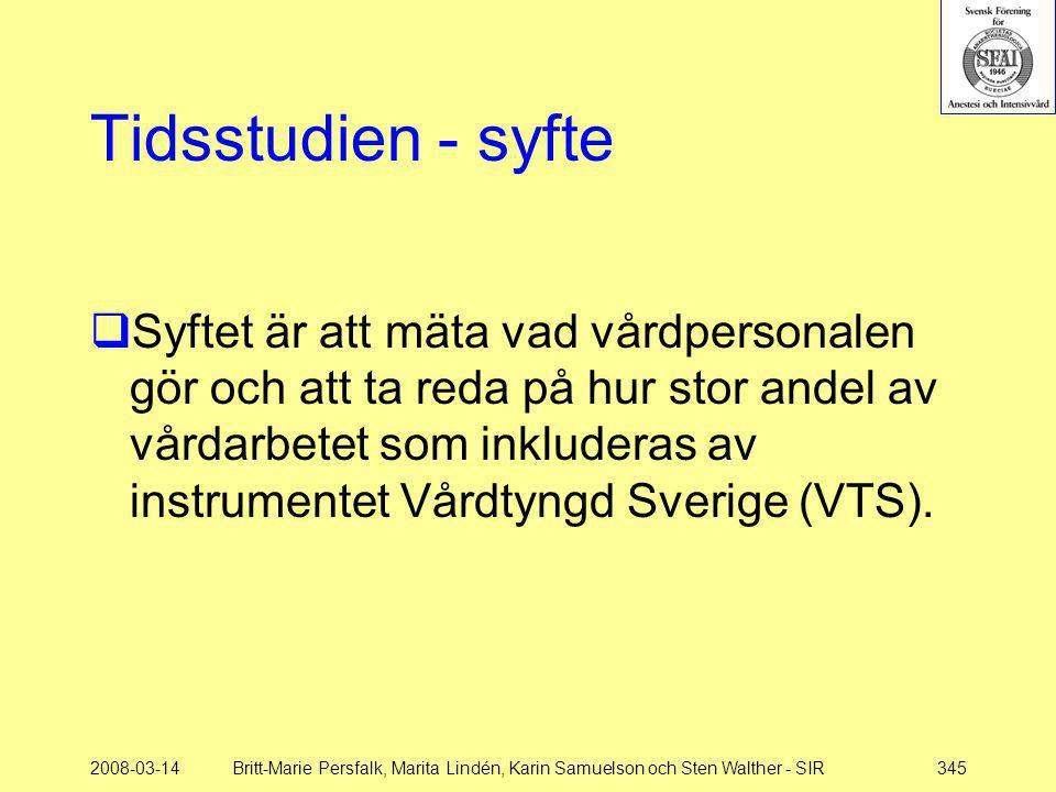 2008-03-14Britt-Marie Persfalk, Marita Lindén, Karin Samuelson och Sten Walther - SIR345 Tidsstudien - syfte  Syftet är att mäta vad vårdpersonalen g