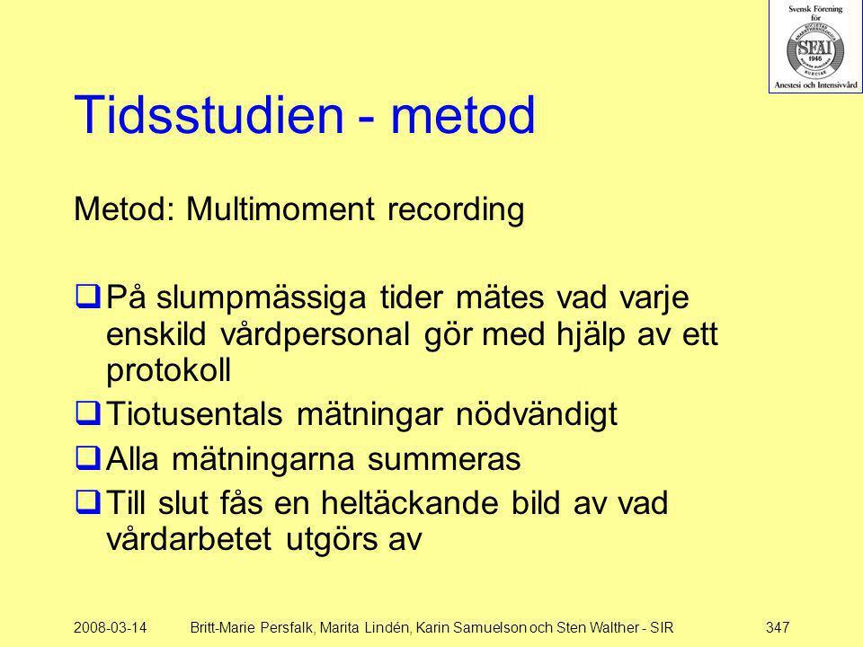 2008-03-14Britt-Marie Persfalk, Marita Lindén, Karin Samuelson och Sten Walther - SIR347 Tidsstudien - metod Metod: Multimoment recording  På slumpmä
