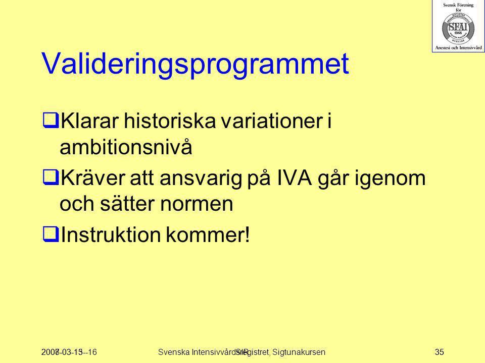 2007-03-15--16SIR35 Valideringsprogrammet  Klarar historiska variationer i ambitionsnivå  Kräver att ansvarig på IVA går igenom och sätter normen 