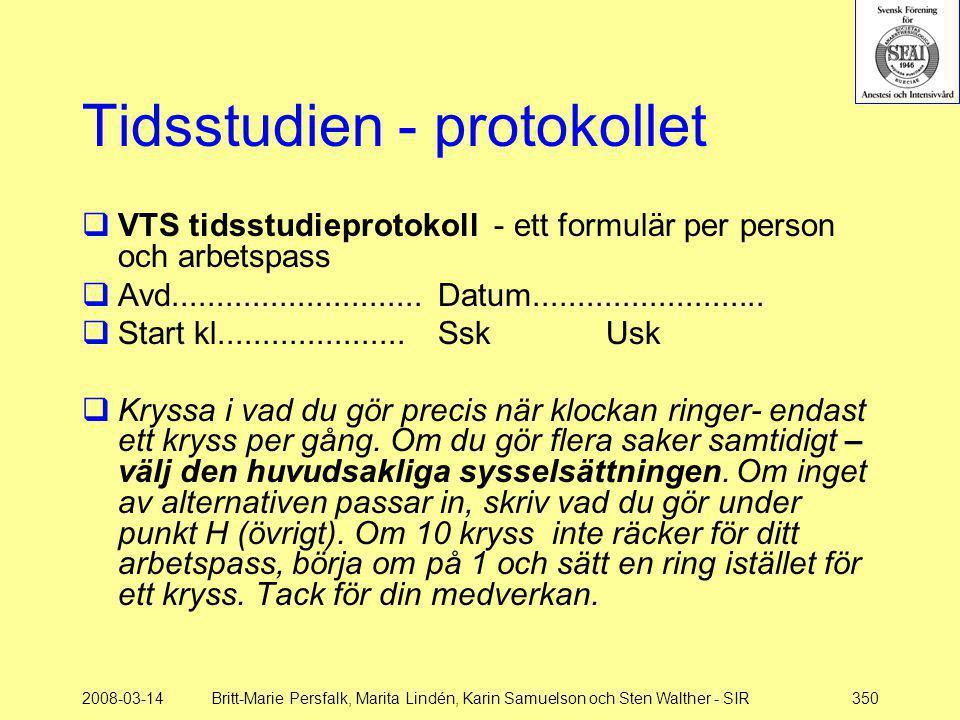 2008-03-14Britt-Marie Persfalk, Marita Lindén, Karin Samuelson och Sten Walther - SIR350 Tidsstudien - protokollet  VTS tidsstudieprotokoll - ett for