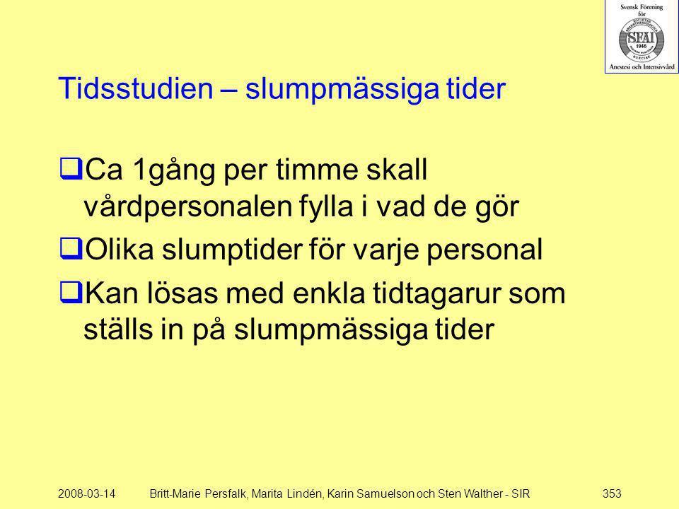 2008-03-14Britt-Marie Persfalk, Marita Lindén, Karin Samuelson och Sten Walther - SIR353 Tidsstudien – slumpmässiga tider  Ca 1gång per timme skall v