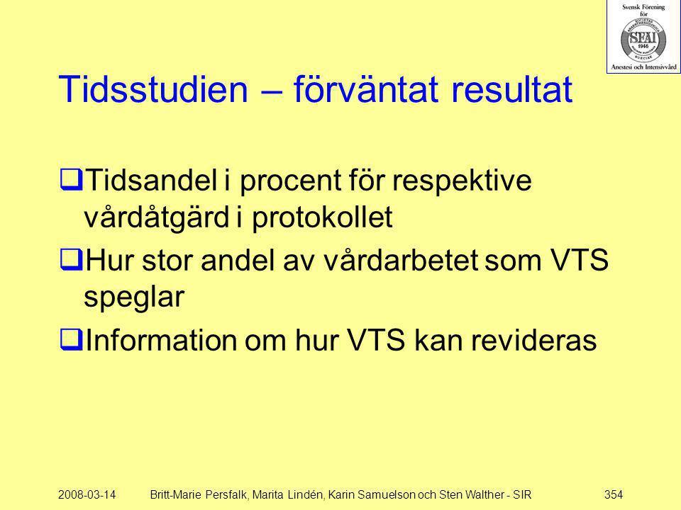 2008-03-14Britt-Marie Persfalk, Marita Lindén, Karin Samuelson och Sten Walther - SIR354 Tidsstudien – förväntat resultat  Tidsandel i procent för re