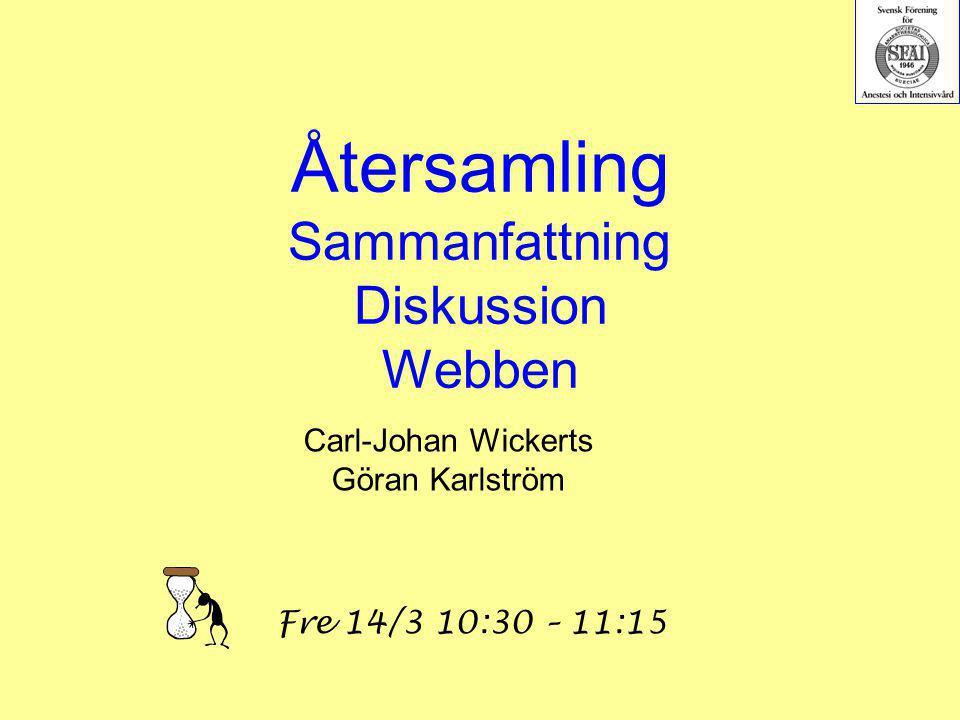 Återsamling Sammanfattning Diskussion Webben Carl-Johan Wickerts Göran Karlström Fre 14/3 10:30 – 11:15