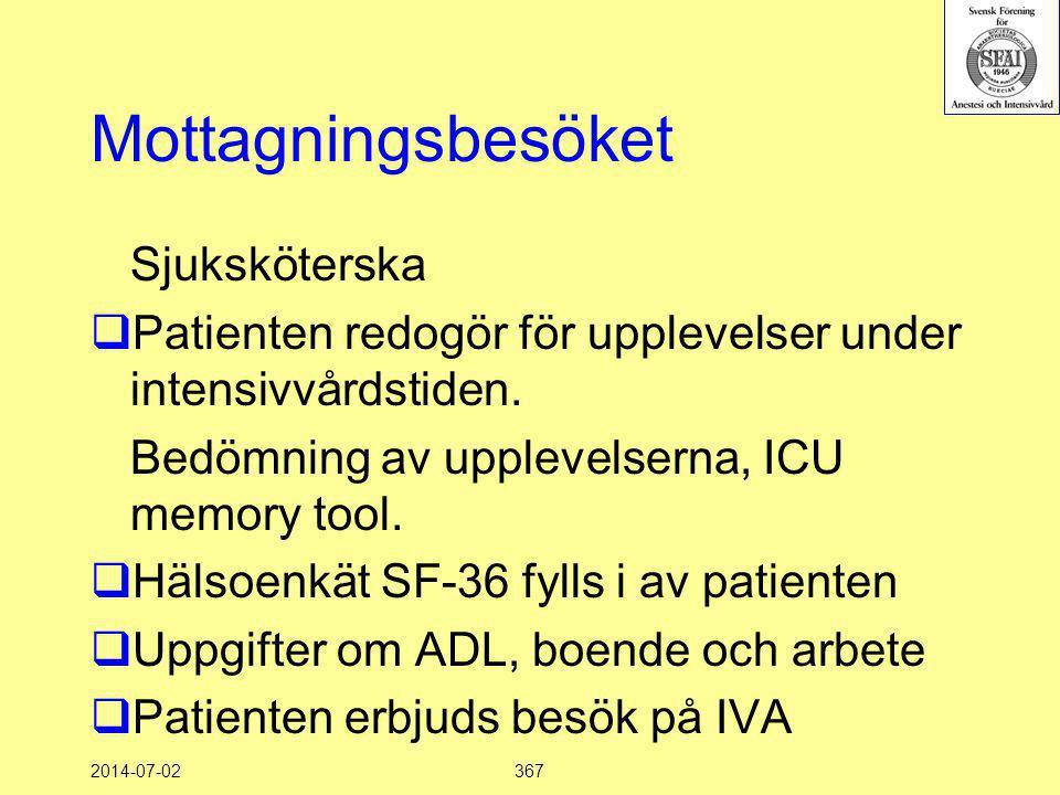 2014-07-02367 Mottagningsbesöket Sjuksköterska  Patienten redogör för upplevelser under intensivvårdstiden. Bedömning av upplevelserna, ICU memory to