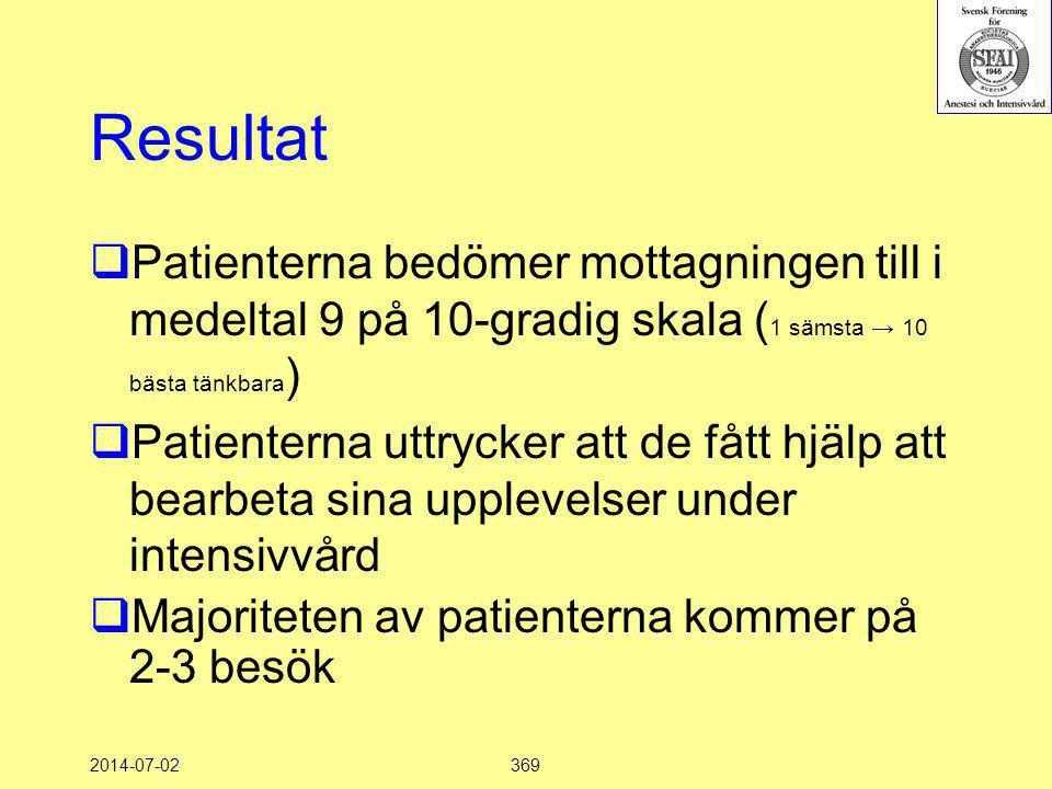 2014-07-02369 Resultat  Patienterna bedömer mottagningen till i medeltal 9 på 10-gradig skala ( 1 sämsta → 10 bästa tänkbara )  Patienterna uttrycke