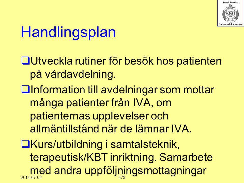2014-07-02373 Handlingsplan  Utveckla rutiner för besök hos patienten på vårdavdelning.  Information till avdelningar som mottar många patienter frå