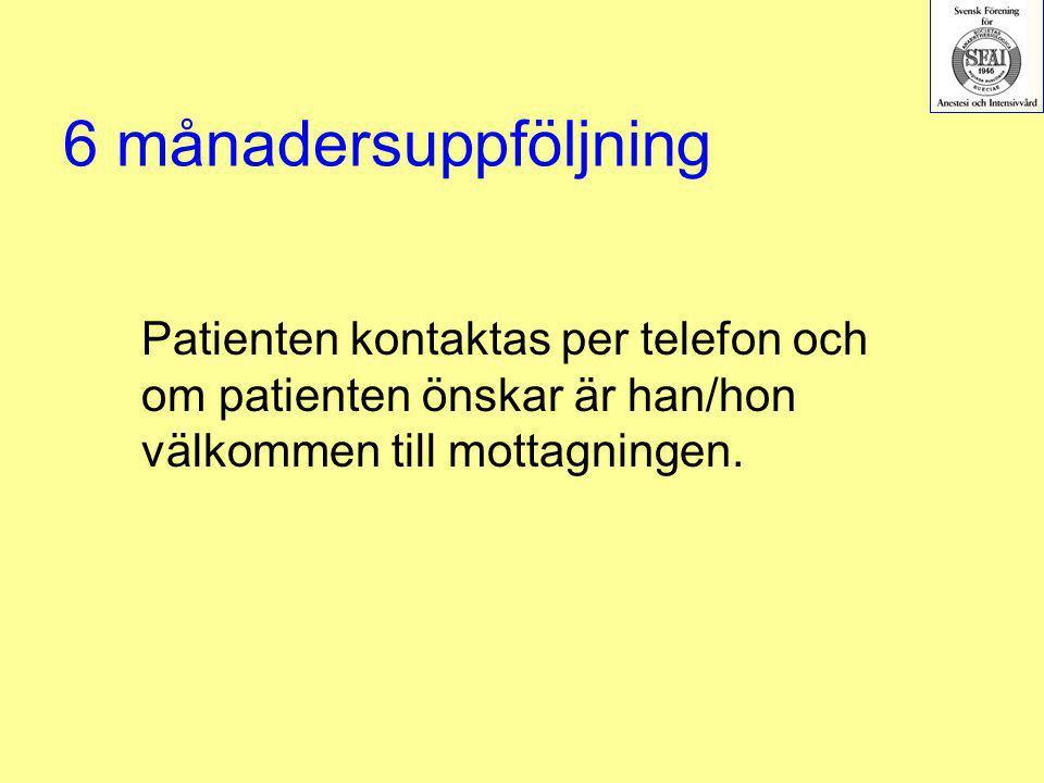 6 månadersuppföljning Patienten kontaktas per telefon och om patienten önskar är han/hon välkommen till mottagningen.