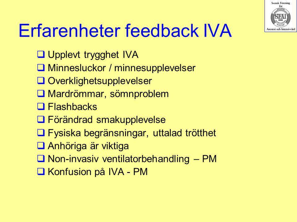 Erfarenheter feedback IVA  Upplevt trygghet IVA  Minnesluckor / minnesupplevelser  Overklighetsupplevelser  Mardrömmar, sömnproblem  Flashbacks 
