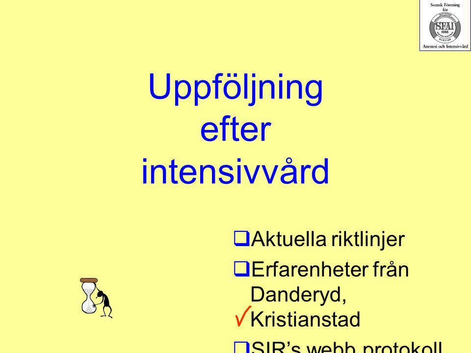 Uppföljning efter intensivvård  Aktuella riktlinjer  Erfarenheter från Danderyd, Kristianstad  SIR's webb protokoll  Rapporter/återkopplin g