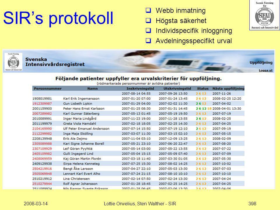 2008-03-14Lottie Orwelius, Sten Walther - SIR398 SIR's protokoll  Webb inmatning  Högsta säkerhet  Individspecifik inloggning  Avdelningsspecifikt