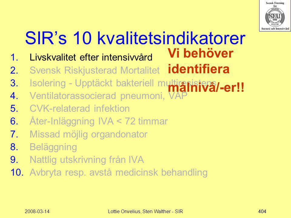 2008-03-14Lottie Orwelius, Sten Walther - SIR404 SIR's 10 kvalitetsindikatorer 1.Livskvalitet efter intensivvård 2.Svensk Riskjusterad Mortalitet 3.Is