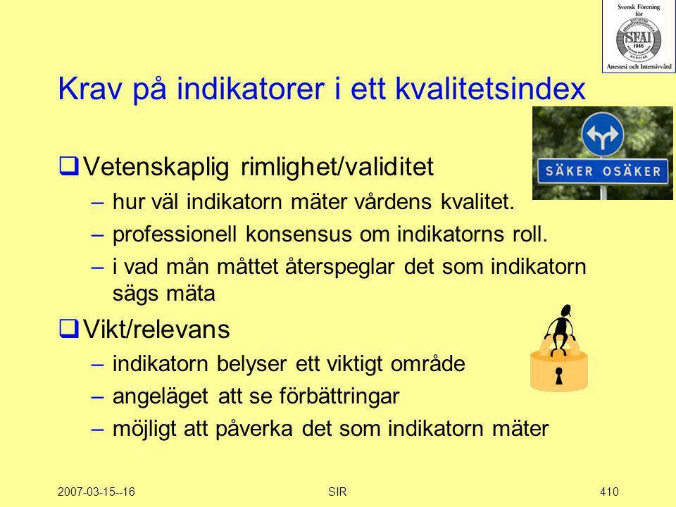 2007-03-15--16SIR410 Krav på indikatorer i ett kvalitetsindex  Vetenskaplig rimlighet/validitet –hur väl indikatorn mäter vårdens kvalitet. –professi