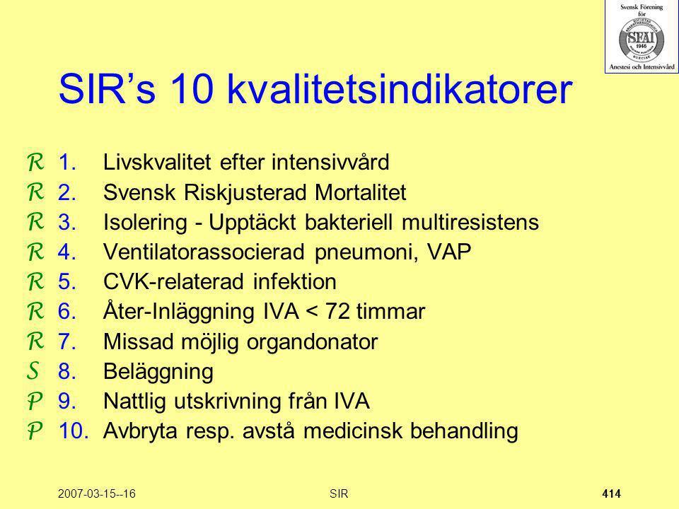 2007-03-15--16SIR414 SIR's 10 kvalitetsindikatorer 1.Livskvalitet efter intensivvård 2.Svensk Riskjusterad Mortalitet 3.Isolering - Upptäckt bakteriel