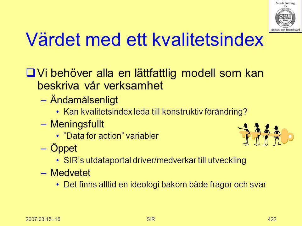 2007-03-15--16SIR422 Värdet med ett kvalitetsindex  Vi behöver alla en lättfattlig modell som kan beskriva vår verksamhet –Ändamålsenligt •Kan kvalit