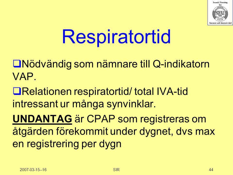 2007-03-15--16SIR44 Respiratortid  Nödvändig som nämnare till Q-indikatorn VAP.  Relationen respiratortid/ total IVA-tid intressant ur många synvink