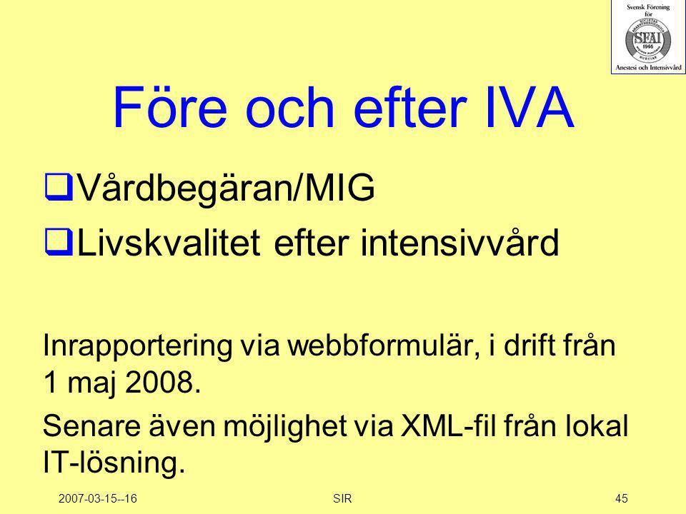 2007-03-15--16SIR45 Före och efter IVA  Vårdbegäran/MIG  Livskvalitet efter intensivvård Inrapportering via webbformulär, i drift från 1 maj 2008. S